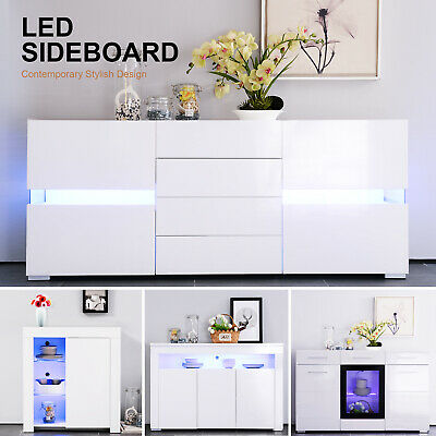 High Gloss White Cabinet Cupboard Sideboard With LED Light Dining Room Furniture Dining Room Kitchen Sideboard