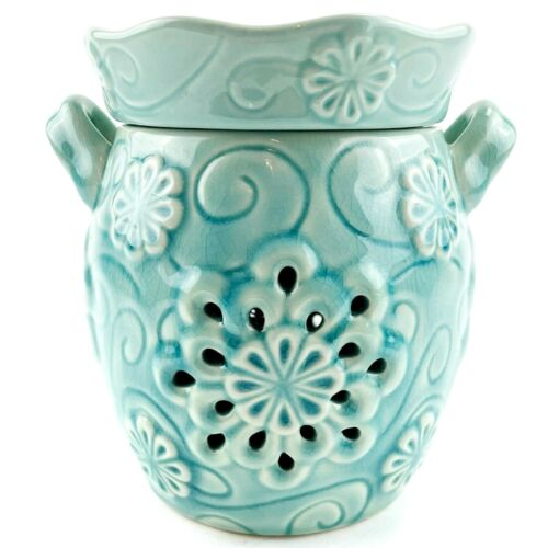 Scentsy Flurry Full Size Wax Candle Warmer & Bulb Turquoise Winter Snowflake EUC