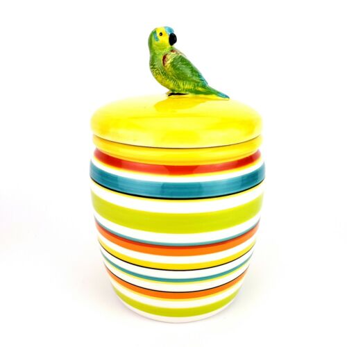 Parakeet Bird Cookie Jar By Essential Home Tropical Colorful Striped