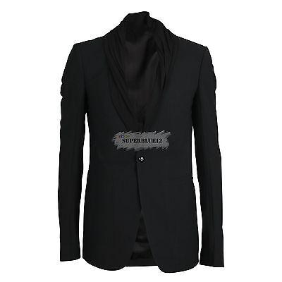 RICK OWENS Black Shawl Collar Blazer Free Shipping