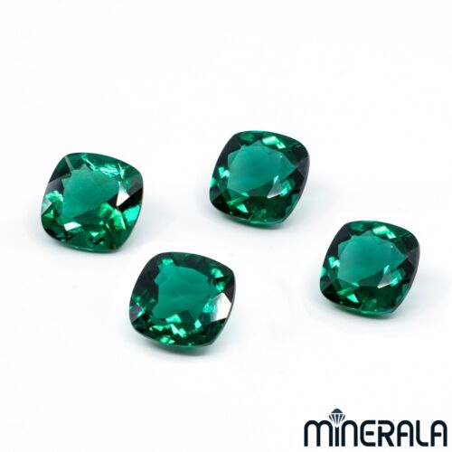 LAB GROWN ZAMBIA EMERALD GEMSTONE 6mm-8mm CUSHION SHAPE LOOSE FACETED WP02731