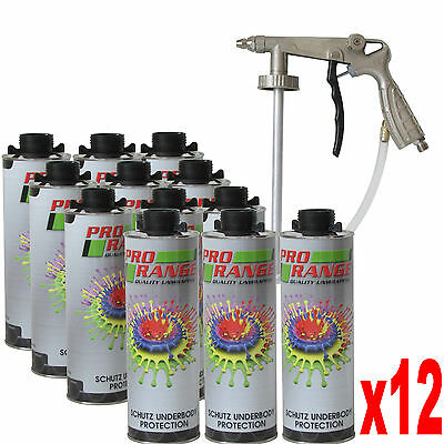 Car Body Schutz  x 12  + Gun Black Underseal + Underbody Coating Gun Texture 3M
