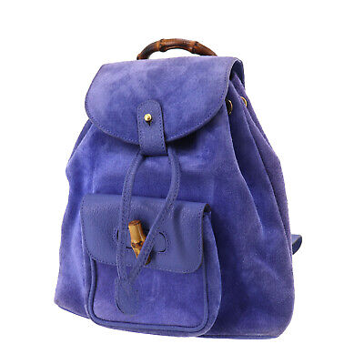 GUCCI Bamboo Backpack Hand Bag Blue Suede Leather Vintage Authentic #TT362 O