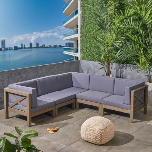 Great Deal Furniture Keith Outdoor Sectional Sofa Set  5-Pie