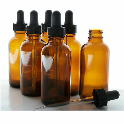 2oz Amber Glass Bottle With Black Dropper