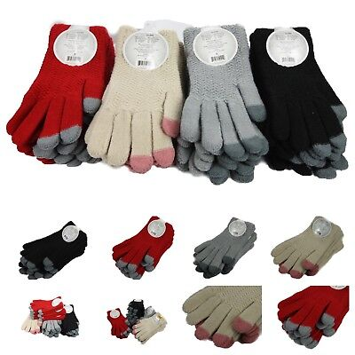 Heavyweight Knit Gloves - Ladies Touch Screen Glove Winter Knit Heavy Weight Thick Smartphone Tablet Women