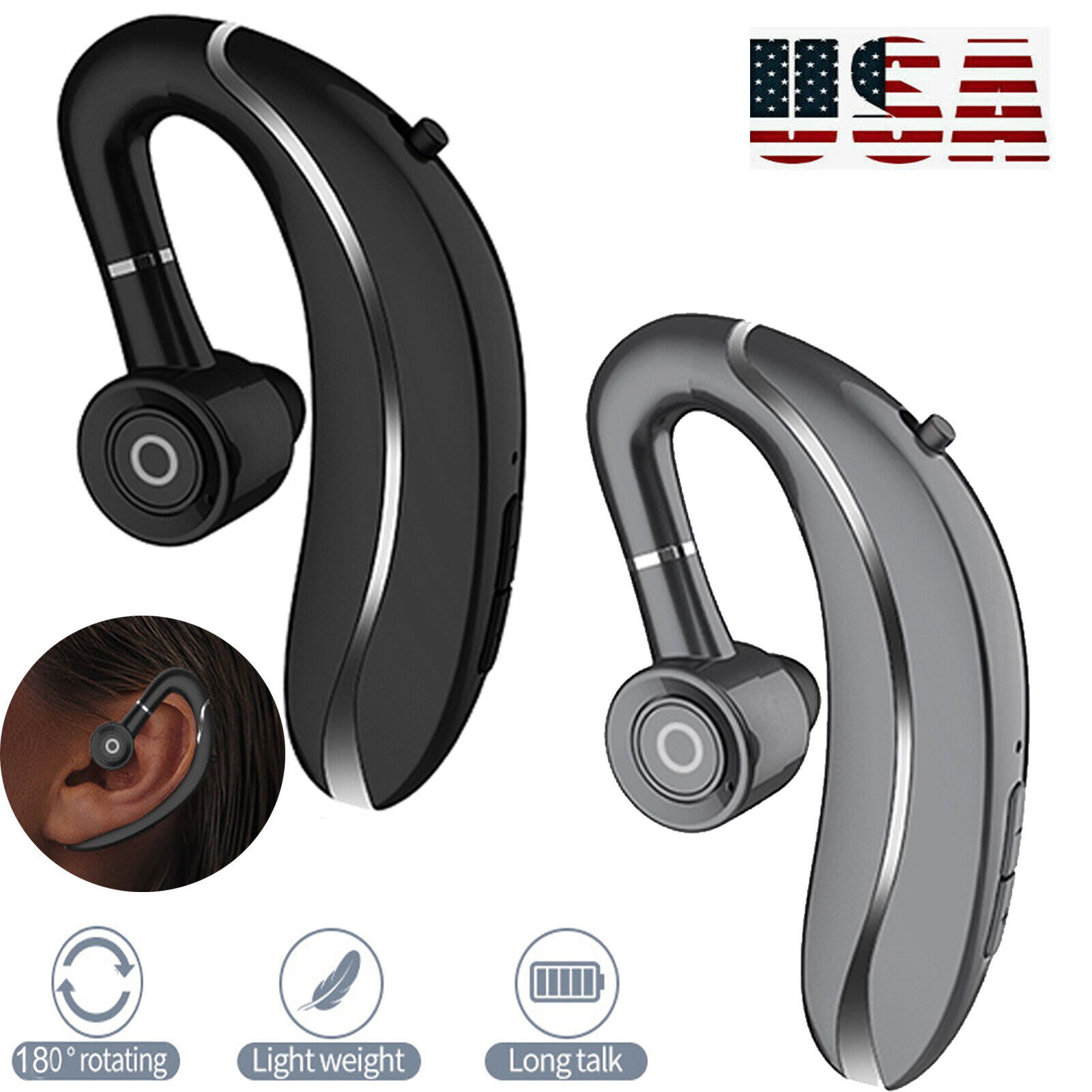5.0 Bluetooth Wireless Headset Headphone with Mic For Cell P