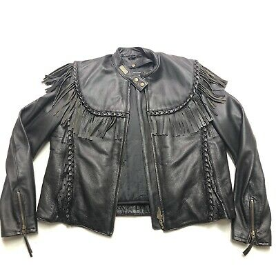 Harley Davidson Leather Jacket VTG Embossed WILLIE G FRINGE Lined Size Large