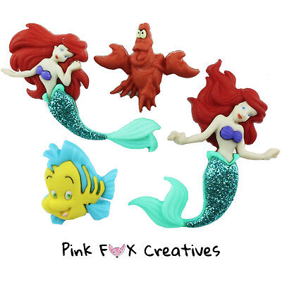 THE LITTLE MERMAID DRESS IT UP NOVELTY CRAFT BUTTONS DISNEY ARIEL SEBASTIAN SEW ()