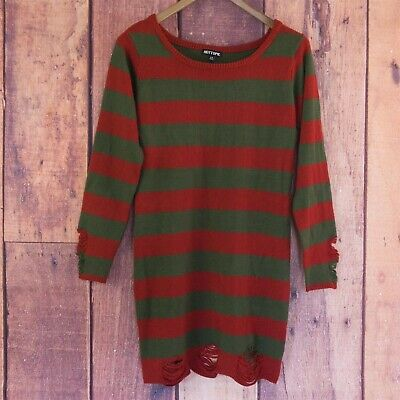 Freddy Krueger Sweater Dress (HOT TOPIC Freddy Krueger Sweater Dress Red Green Striped Pullover Size L)