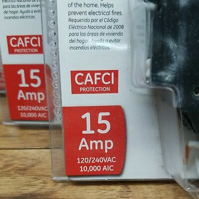 4 Pack - New Ge Single Pole Combination Arc Fault Circuit Interrupter 15 Amp