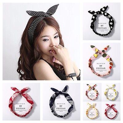 knot headband hair band scarf wrap vintage bunny rabbit 50's Rockabilly