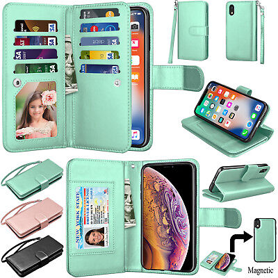For iPhone XR PU Leather Detachable Magnetic Wallet Folding Flip Strap Card (Magnetic Pu Leather Folio)