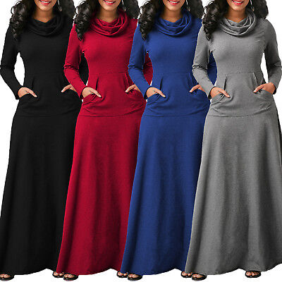Womens Casual Pocket Cowl Neck Long Sleeve Swing Fit Maxi Dress Plus Size
