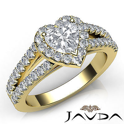 Halo U Pave Set Split Shank Heart Shape Diamond Engagement Ring GIA E VS1 1.47Ct