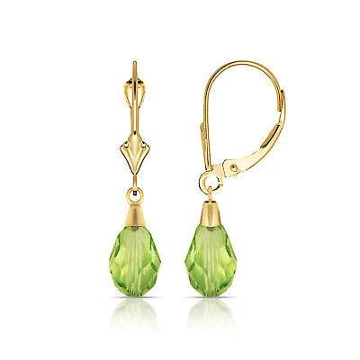 - Tear Drop Shaped Peridot Dangle Drop Leverback Earrings 14K Solid Yellow Gold
