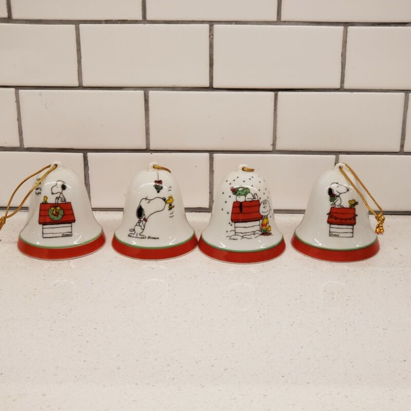 "Vintage ""1958-1965/ 4 Peanuts Snoopy, Woodstock Christmas Bell Ornament"""