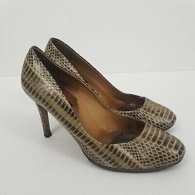 Ann Taylor Women's Size 6.5  Leather Tan Brown Snake Print Heels Pumps