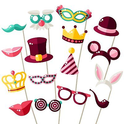 Party Photo Booth Props - Fully Assembled, No DIY Required - Mix of Hats, Lips,