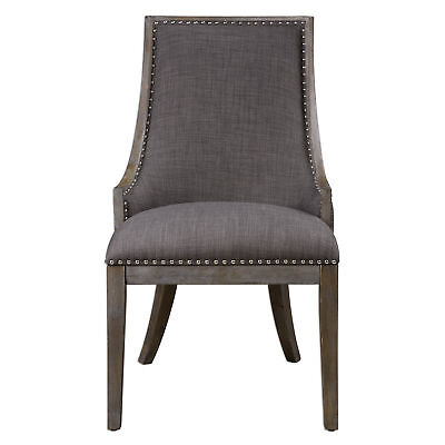 Curved Charcoal Gray Sling Back Side Chair | Dining Accent Contemporary Nailhead