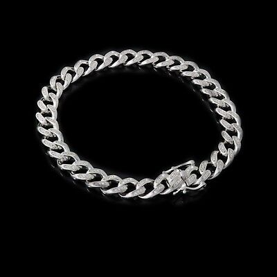 "Mens Cuban Miami Link Bracelet Solid 925 Sterling Silver 8.5"" 2.5ct Lab Diamond"