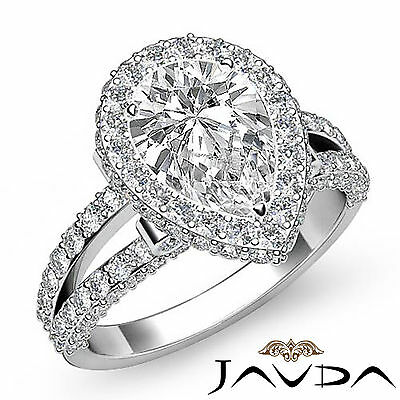 Bridge Accent Halo Pave Bezel Set Pear Diamond Engagement Ring GIA H SI1 2.52Ct