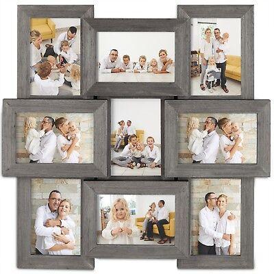 VonHaus 9x Decorative Collage Picture Frames for Multiple 4x6 Photos Wooden Gray ()