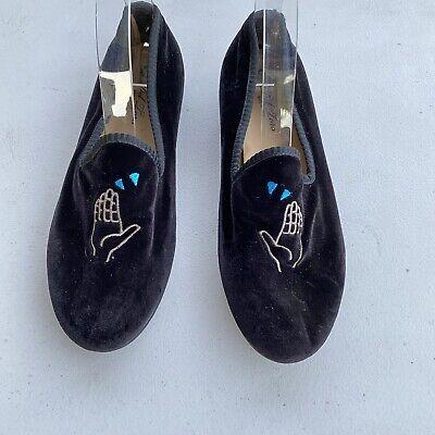Del Toro men's velvet Black loafers Shoe size 9 Made Italy