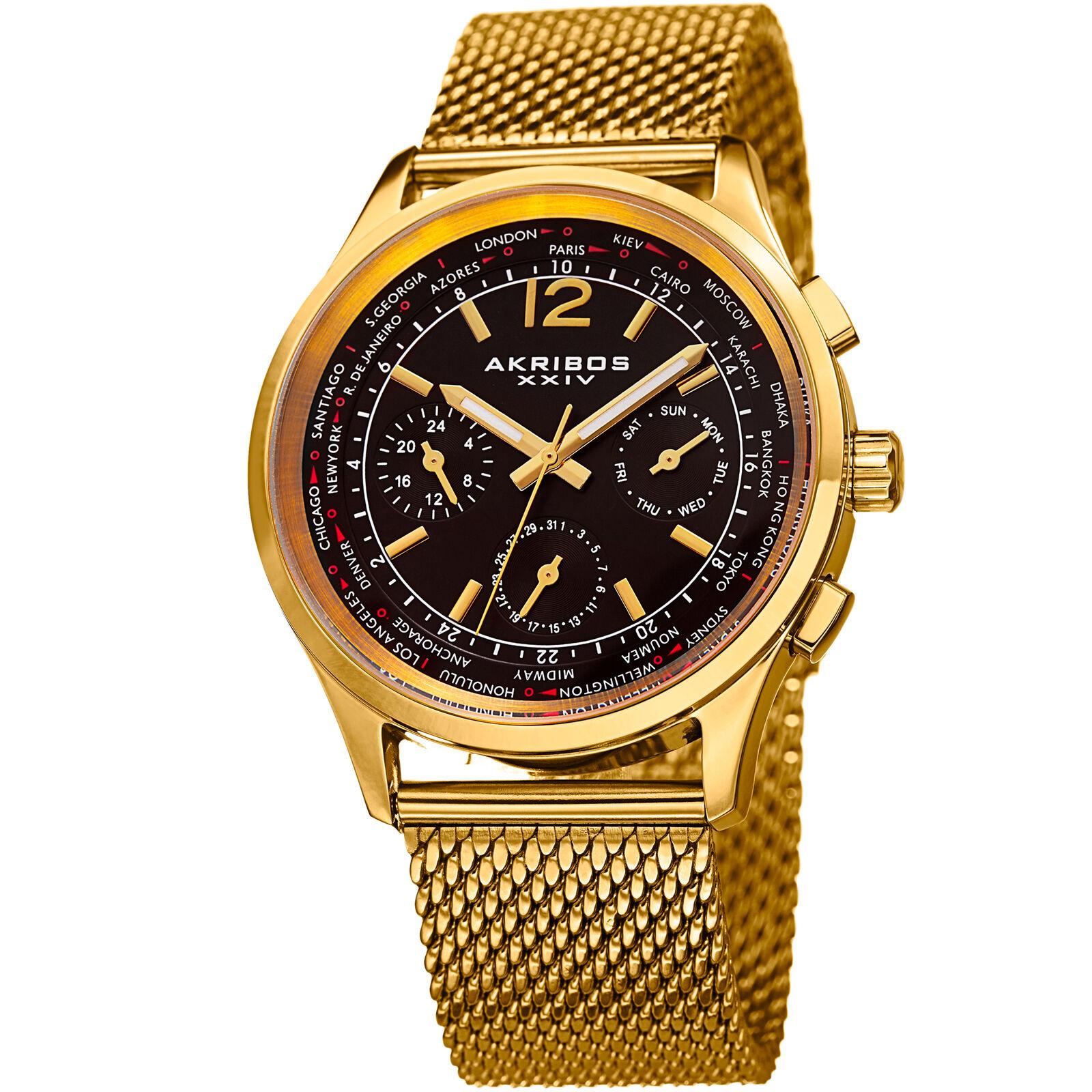 Mens Akribos XXIV AK716 Multifunction Day Date Stainless Steel Mesh Watch