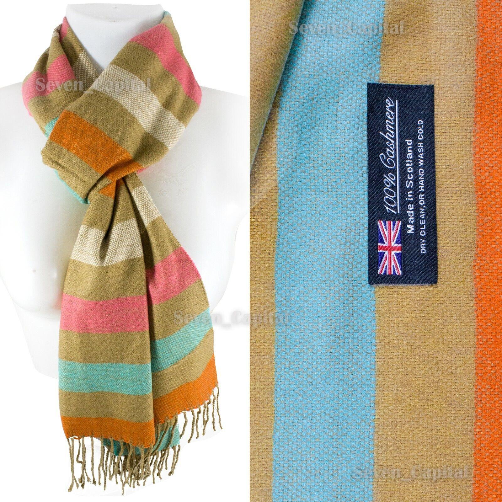 Mens Womens Winter Warm SCOTLAND Made 100% CASHMERE Scarf Scarves Plaid Wool 26. Plaid: Beige Strip