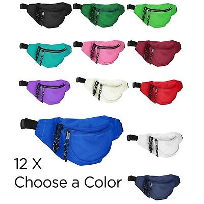 1 DOZEN 12 - DALIX Waist Bag Kids Fanny Pack Small Mens Womens Belt Pouch Travel
