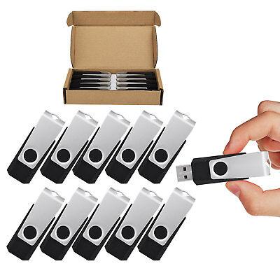 10 Pack 1GB USB 2.0 Flash Drive Thumb Drive Memory Stick Swivel Pen Drive Black