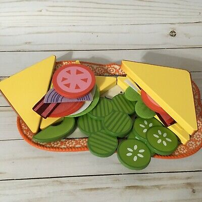 Food Pretend Play Wooden Sandwich Complete Bread Meat Let Tom Cheese -