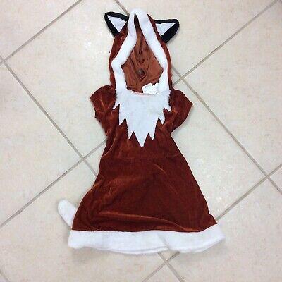 Girl's Fox Sz S Red Fox Dress Costume Detachable Tail Hood Halloween Dress Up ()