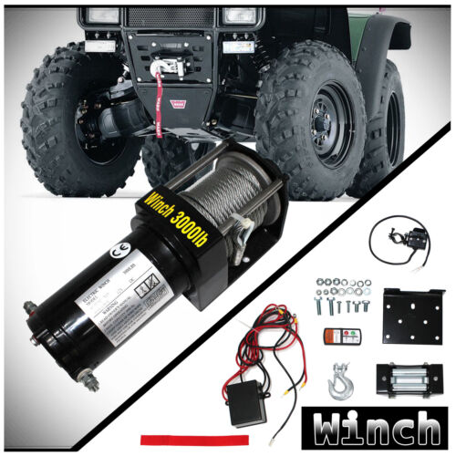 WIN-2X 3000lb 12V Electric Recovery Winch Kit w/ Mounting Plate For ATV UTV Boat