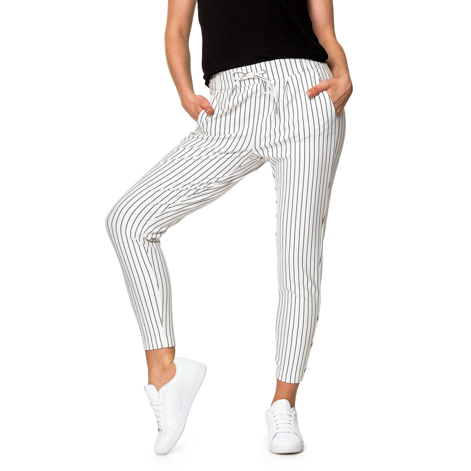 Only Damen Stoffhose Anzughose Comfort Fit Businesshose Damenhose Gestreift