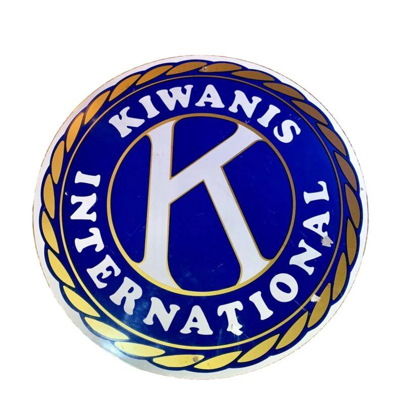 "Vintage Kiwanis International Round Sign Single Sided Metal 30"" Diameter"