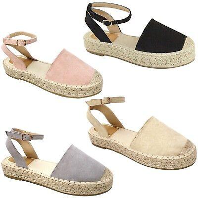 New Women AM3 Black Gray Blush Beige Mary Jane Platform Espadrilles Sandals - New Mary Jane Black Platform