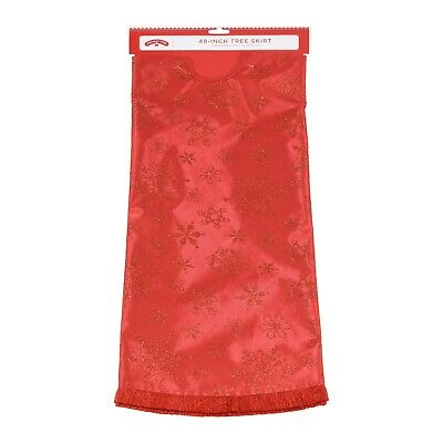 "Holiday Time Tree Skirt Snowflake, Red Snowflake, 48"""