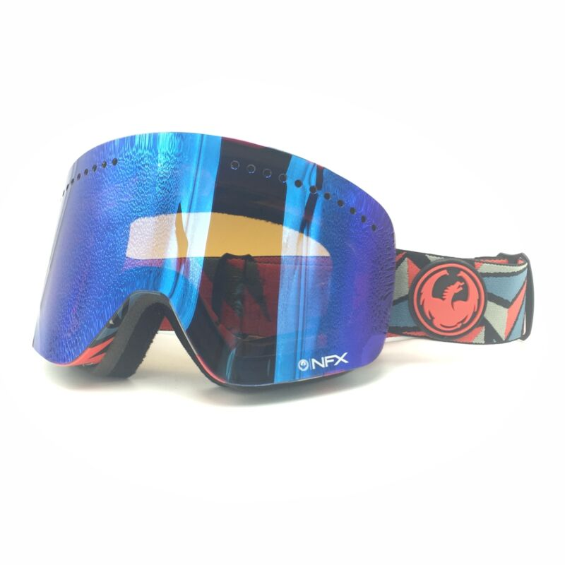 New Dragon Alliance NFX Red An Blue W/ Blue Mirror Lens Ski Snow Goggles