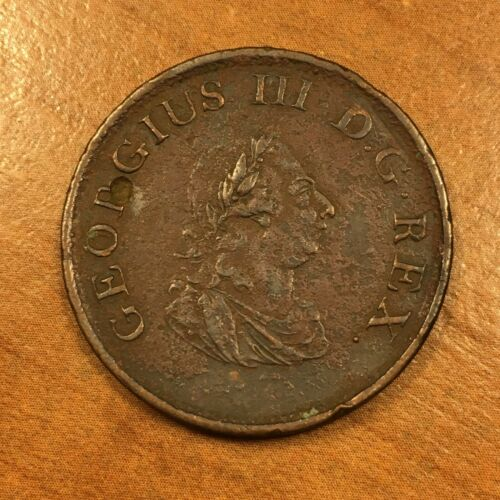 1805 Ireland Penny 1/2 Coin, KM# 147.1, AU details, Scarce