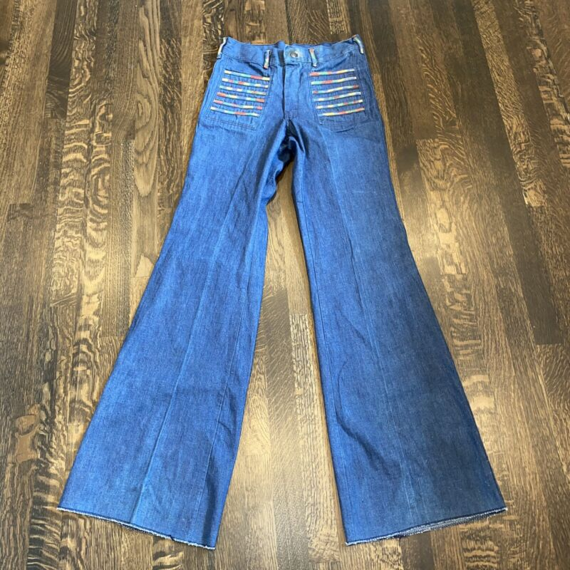 Vtg 60s 70s Nationwide Penncraft BELL BOTTOM Blue Jeans Denim pants Womens 32 37