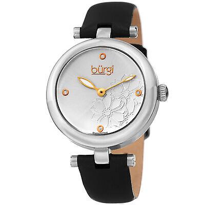 Women Burgi BUR197SSB Diamond Marker Flower Black Silver Leather Strap Watch