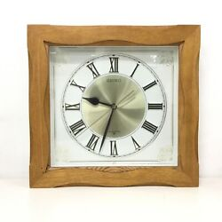 SEIKO Wall Clock Square Light Wooden Frame & Gold Details on Clock Japan #908