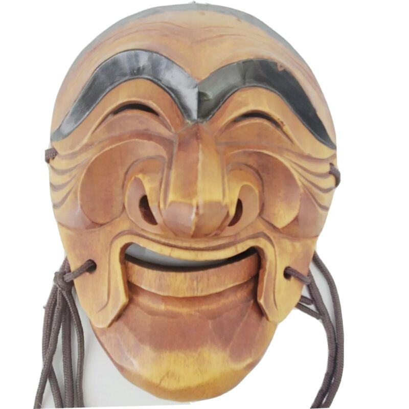 Vintage Korean  Hand Carved Traditional Wooden Mask Movable Mouth Hahoe Replica
