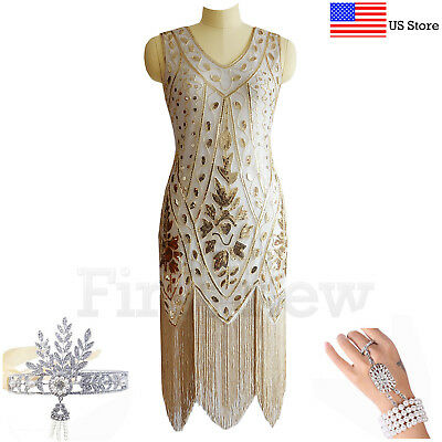 1920 Great Gatsby Dresses (Vintage Roaring 20s 1920s Dress Flapper Great Gatsby Party Sequin Fringe)