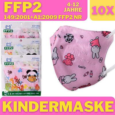 10x FFP2 Maske CE Zertifiziert Kinder Atemschutzmaske Mädchen Mehrfarbig Rosa