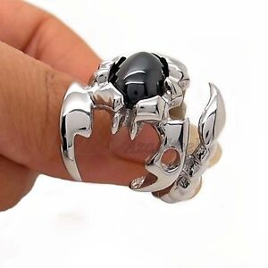 Mens-Silver-Scorpion-King-Black-Cubic-Zirconia-316L-Stainless-Steel-Ring