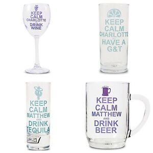 PERSONALISED-KEEP-CALM-NOVELTY-GLASS-Christmas-Bride-Groom-Funky-Gift-Idea-wine