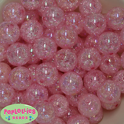 20mm Pink Crackle Style Chunky Acrylic Bubblegum Beads  20 pc](Pink Bubblegum)